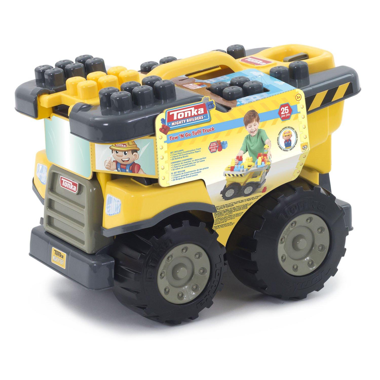 Tow N Go >> Amazon Com Tonka Mighty Builders Tow N Go Tuff Truck 25 Piece