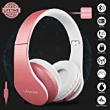 Wireless Bluetooth Headphone Over Ear, Headphones with Mic Noise Cancelling FM Radio Headsets, Sports Foldable USB Wired Earphone for kids Girls Women iphone Apple TV Audio Cell Phone Computer DJ PC