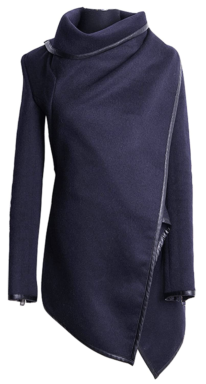 Caflin Women's Plus Size Wool-Blend Irregular Trench Coat With Zip