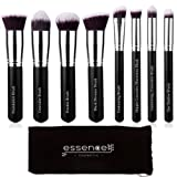 Essencell Makeup Brushes Premium Synthetic Kabuki Cosmetic Makeup Brush Set - Foundation,Powder, Blending Blush Bronzer, Concealer Contour, Eye Shadow Brush Kit (8PCs, Black Sliver) …