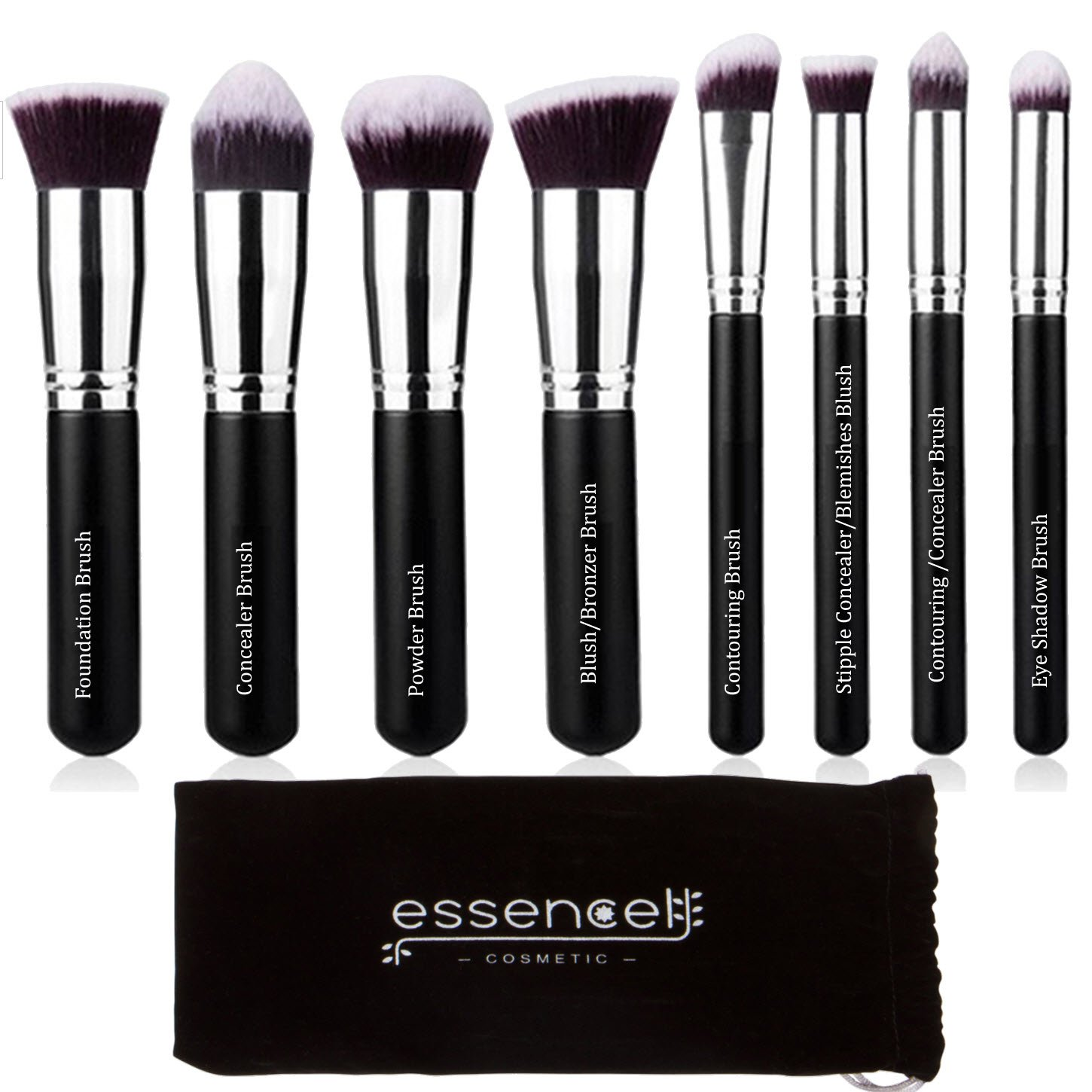 Essencell Makeup Brushes Premium Synthetic Kabuki Cosmetic Makeup Brush Set - Foundation,Powder, Blending Blush Bronzer, Concealer Contour, Eye Shadow Brush Kit (8PCs, Black Sliver)