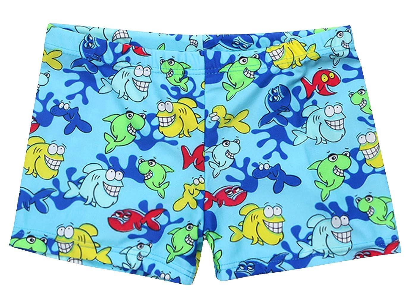 HAINASIDUN Boys Swim Trunks Polyster Quick Dry Swimming Shorts Cartoon Fish Boxer