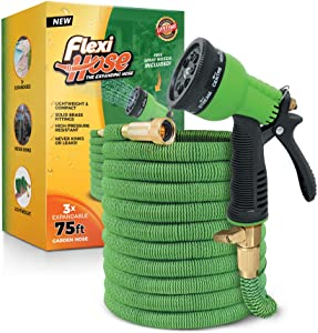 Flexi Hose with 8 Function Nozzle, 75 ft. Lightweight Expandable Garden Hose, No-Kink Flexibility, 3/4 Inch Solid Brass Fittings and Double Latex Core, Green