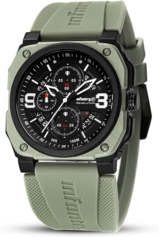 Amazon Com Mens Military Watch Field Chronograph Wrist Watches For Men Pilot Aviator Waterproof Army Green Tactical Outdoor Sport Work Wristwatch By Infantry Watches