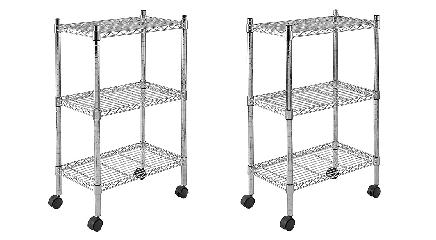 Chrome 33 Height x 22 Width x 13 Depth Sandusky MWS221333 3-Tier Mobile Wire Shelving Unit with 2 Nylon Casters 3 Wire Shelves