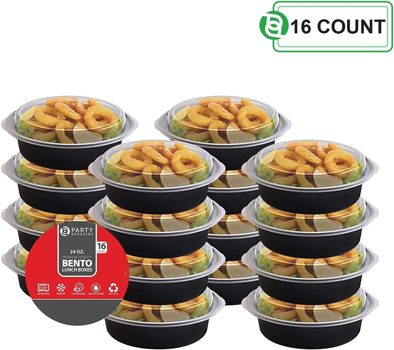 Party Bargains Round Plastic Food Container with Airtight Lids Bento Lunch Box | Meal Prep Food Containers Portion Control Leakproof Microwavable, Reusable & Freezer Safe - 24 Oz | PACK of 16