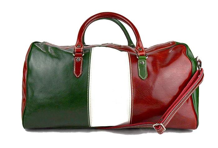 Amazon.com  Duffle bag genuine leather shoulder bag Italian flag red back  mens ladies travel bag gym luggage made in Italy carryon weekender duffle   ... 021fd757dfa69
