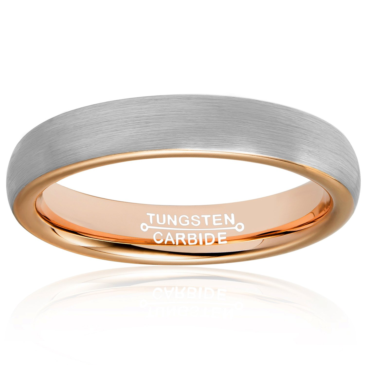 MNH Tungsten Rings for Men Women 4mm Rose Gold Plated Brushed