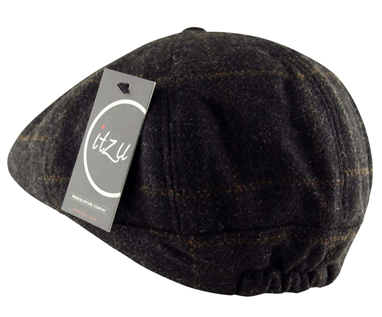 43bc251b97e Itzu Men s Overcheck Twill Gatsby Flat Cap Hat Vintage Country 8 Panel 100%  Wool Elasticated (Large XL