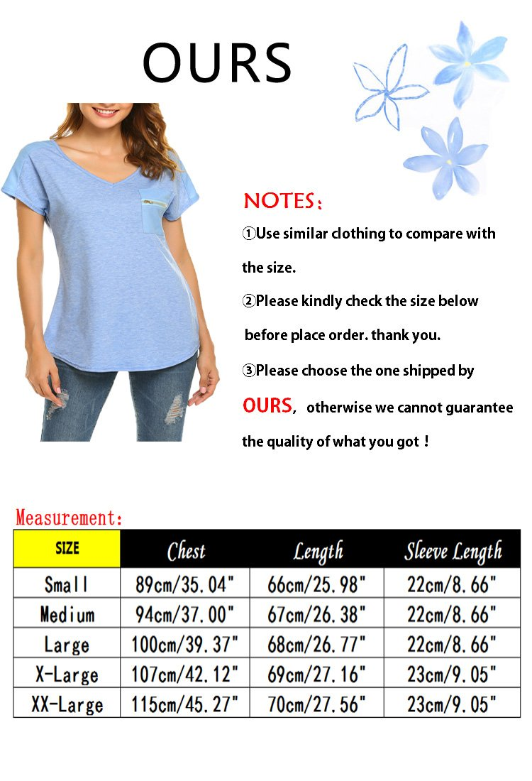OURS Women's Casual Fashion Simple Comfy Knit Business Work T Shirt(Blue, S) by OURS (Image #6)