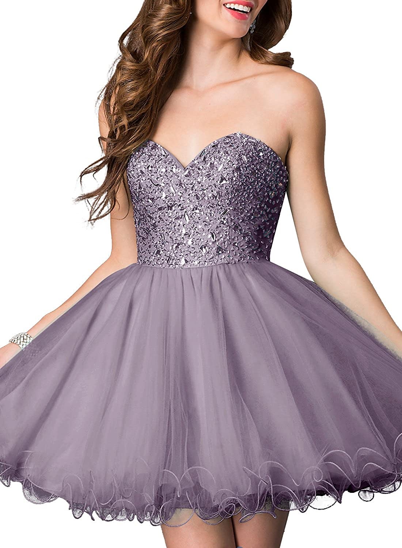 Bbonlinedress Women's Short Sweetheart Tulle Dress With Beads Evening Gown Maxi Dress