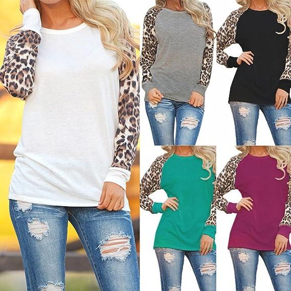 Blusas Mujer, ASHOP Casual O Cuello Leopardo Sudaderas Moda Elegantes Ropa en Oferta Camisetas Manga Larga Tops de Fiesta Abrigos Invierno de Mujer otoño: ...