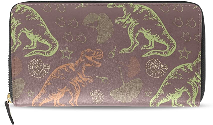 Leather Coin Purse Clutch Pouch Handbag with Tyrannosaurus Rex Pattern Wallet/for Women Girls Students