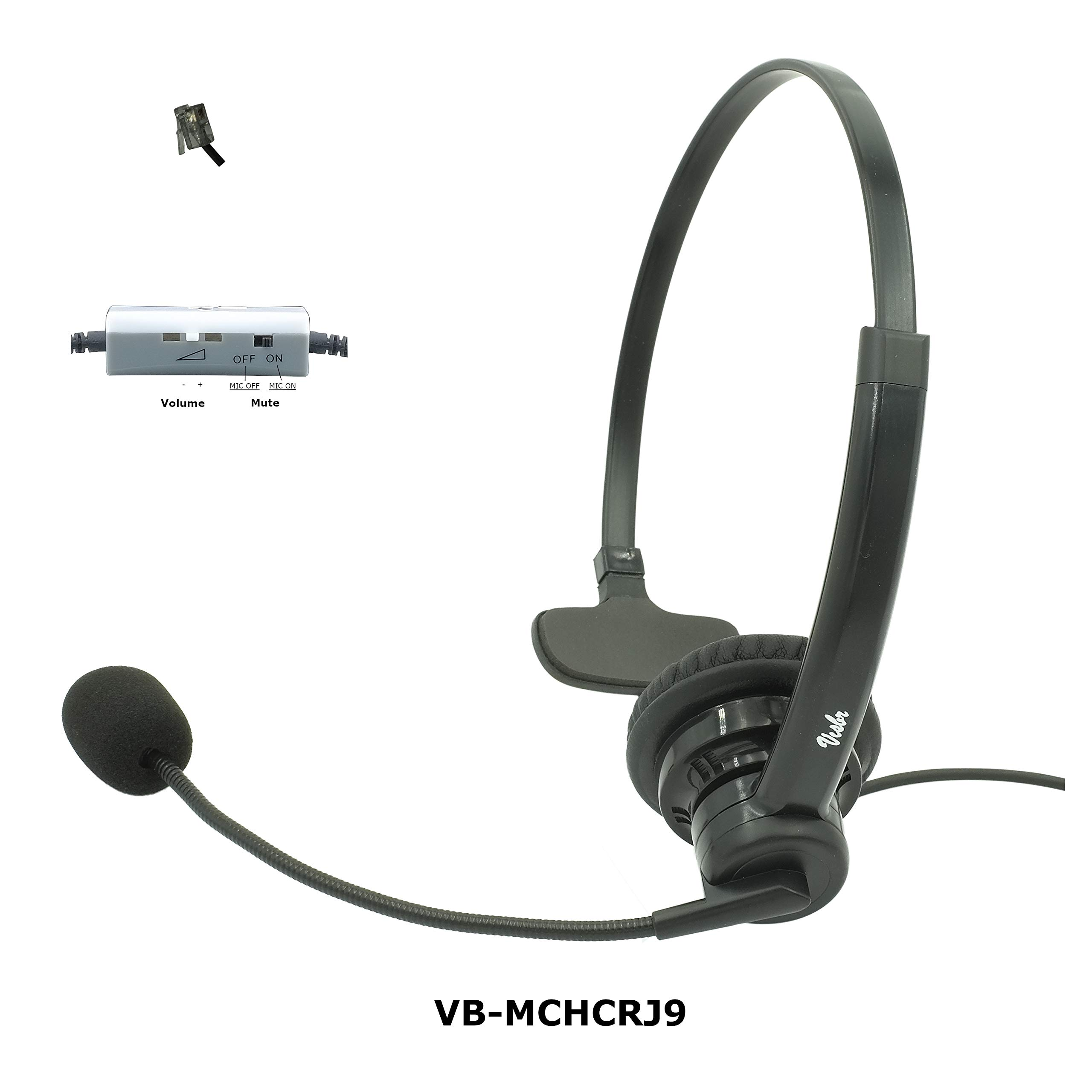 Professional Single Ear Noise Canceling Office/Call Center Headset with RJ9 Quick disconnect Cord Works with Cisco, Avaya, Polycom, Mitel, Yealink, Grandstream, NEC, Nortel, Shoretel, Allworx & more by VISBR