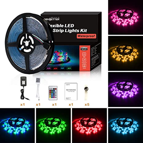Amazon led strip lights 5m164 ft smd 2835 rgb 300 led color led strip lights 5m164 ft smd 2835 rgb 300 led color changing kit waterproof aloadofball Images