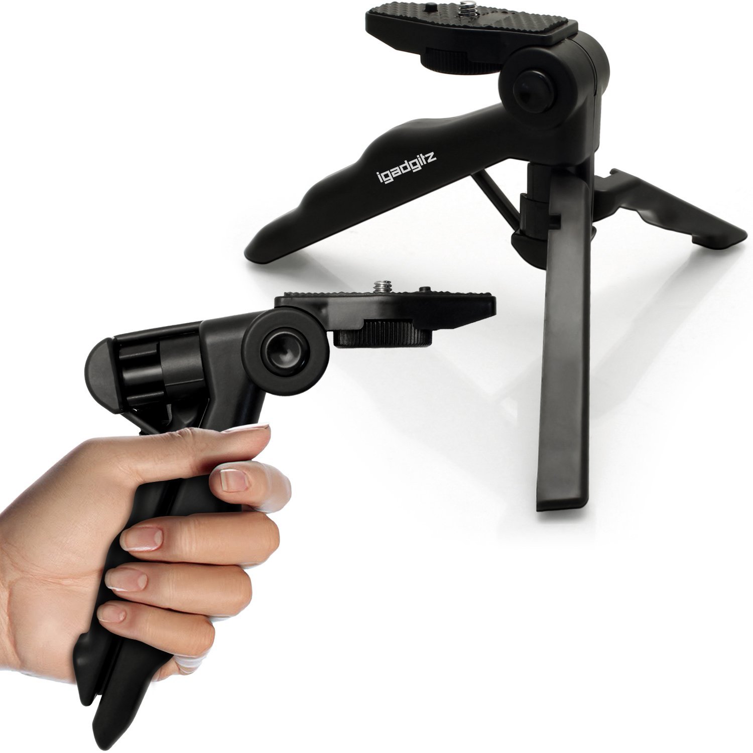 iGadgitz 2 in 1 Pistol Grip Stabilizer and Mini Lightweight Table Top Stand Tripod for Digital Camera, DSLR, Video Camera & Camcorder U4137