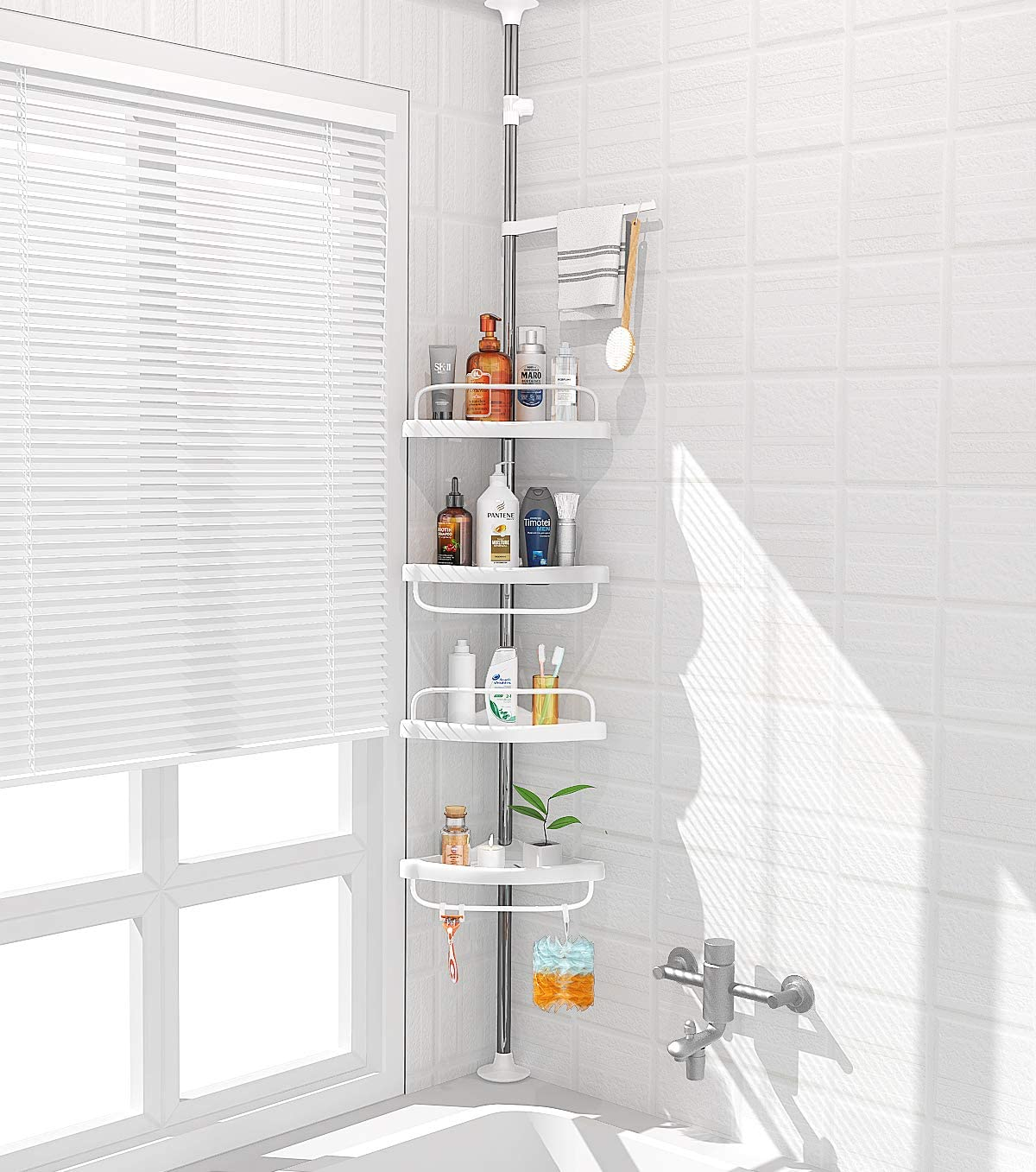 Amazon Com Adovel 4 Layer Corner Shower Caddy Adjustable Shower Shelf Constant Tension Stainless Steel Pole Organizer Rustproof 3 3 To 9 8ft Home Improvement
