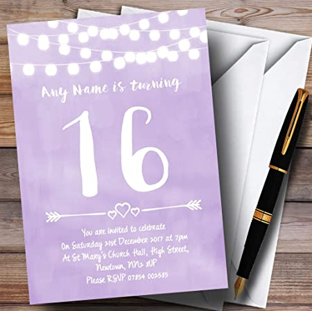 purple lilac lights 16th personalised birthday party invitations