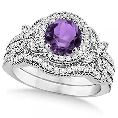 Amazon Com Bridal Set Butterfly Diamond And Amethyst Engagement