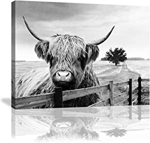 "Canvas Art Decor Black and White Landscape Highland Cow Pasture Hairy Cow Animal Decor Pictures Canvas Wall Art Farmhouse Prints Photo Contemporary Cow Decor Paintings Home Decoration Artwork 16""x24"""