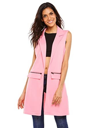 932d9d979a9a7 Zeagoo Women s Sleeveless Zip Pocket Long Waistcoat Blazer Jacket Coat Top  at Amazon Women s Clothing store