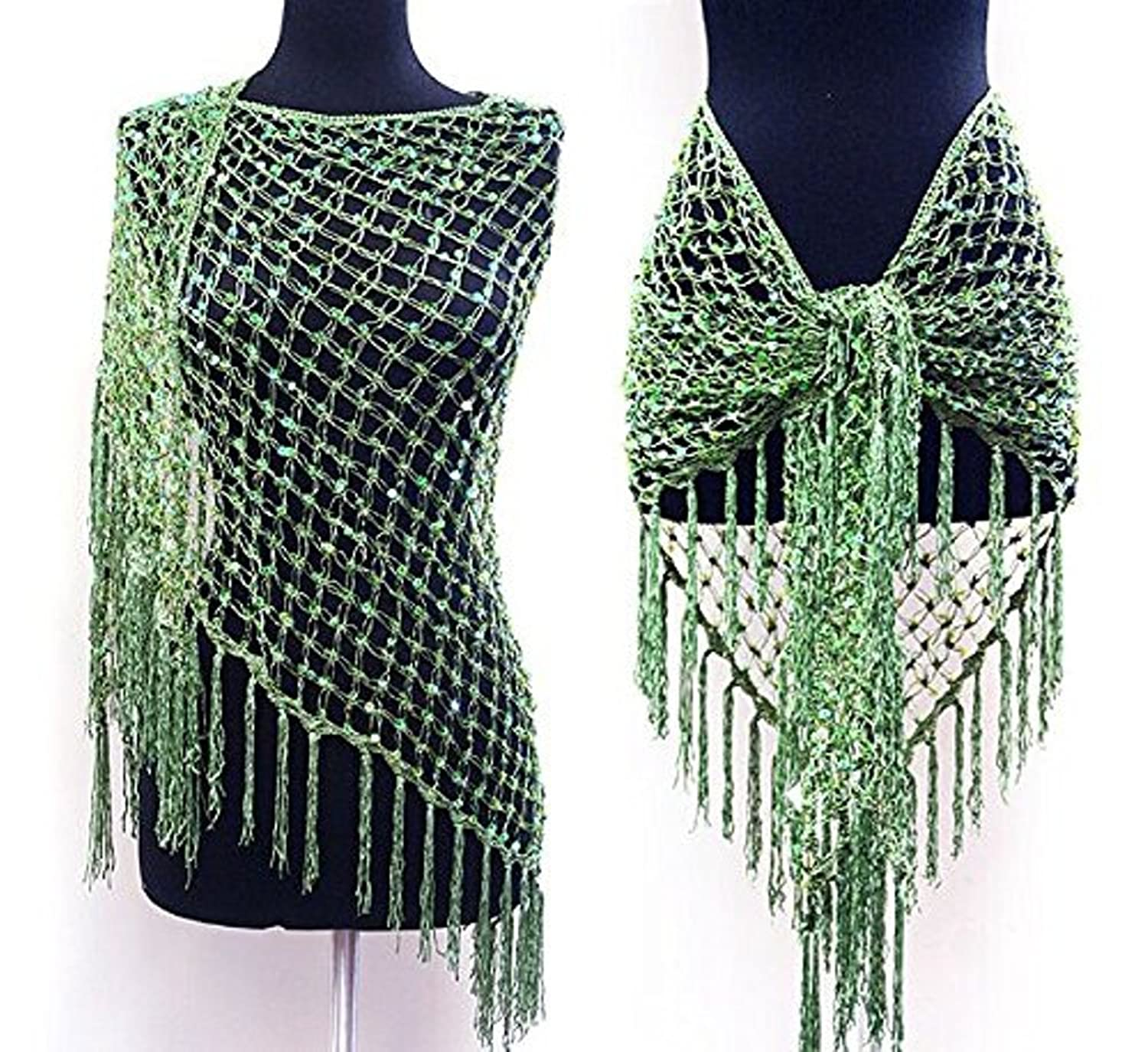 Belly Dance Triangle Beaded sequin Fringed Hip Scarf Wrap Belt