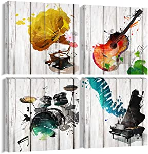 "Music Canvas Wall Art Musical Instrument Painting Picture Prints Gift for Music Lover 4 Panels Music Posters Modern Home Decor for Living Room Bedroom Framed Ready to Hang-16""x16""x4Pcs"