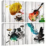 Large Music Canvas Wall Art Guitar Piano Phonograph and Drum Set Paintings Prints Wooden Style Gift for Music Lover 4…