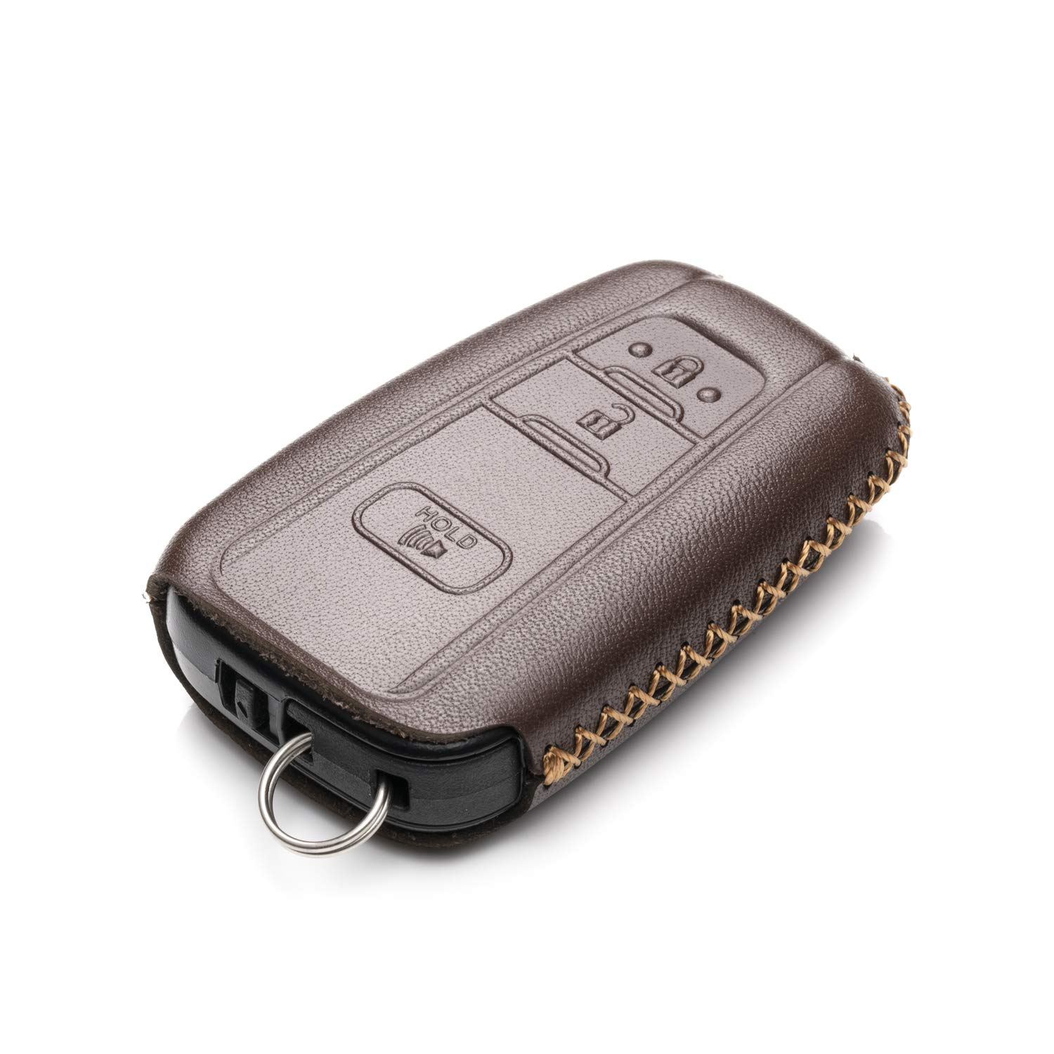 Avalon C-HR Vitodeco Genuine Leather Remote Key Fob Case Cover Protector with Key Chain for 2019 Toyota Corolla Hatchback Rav 4 3 Buttons, Brown Camry Prius