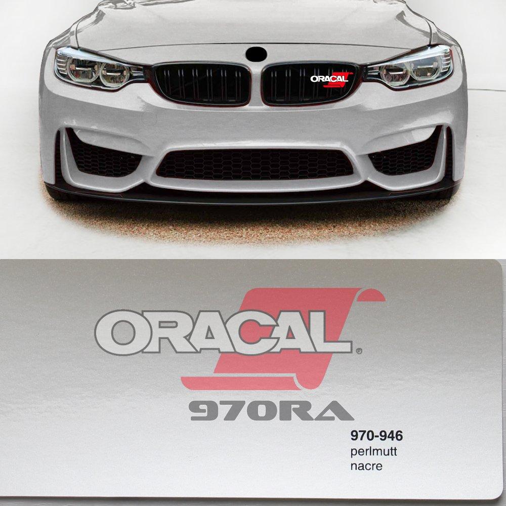 Oracal 970RA 946 Perlmutt wei/ß Metallic Glanz gegossene Profi Autofolie 152cm breit BLASENFREI mit Luftkan/äle