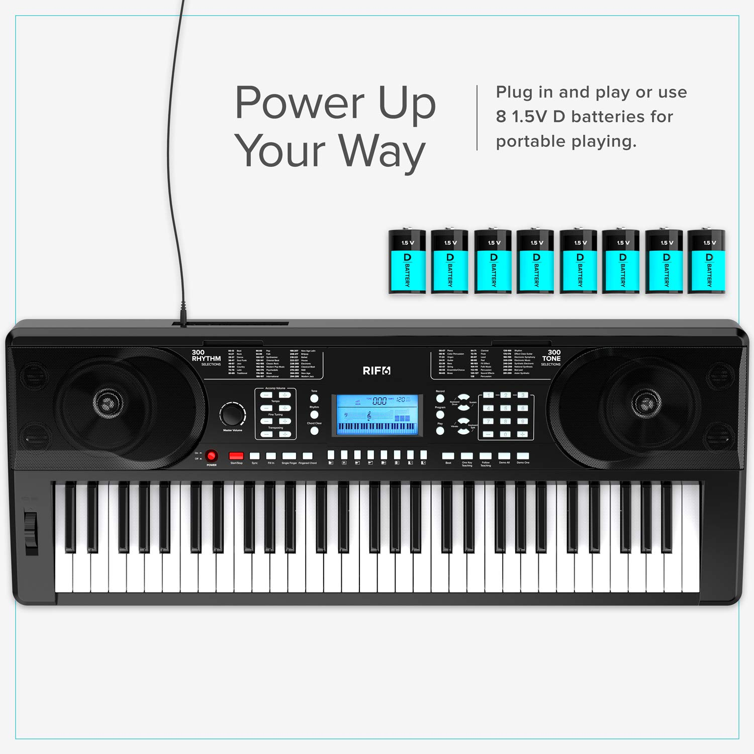 RIF6 Electric 61 Key Piano Keyboard - with Over Ear Headphones, Music Stand, Digital LCD Display, Teaching Modes and Adjustable Stool - Electronic Musical Instruments Starter Set for Kids and Adults by RIF6 (Image #8)