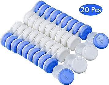 FEIGO Estuche de lentes de contacto 20 pcs Caja de lentes de contacto kit de viaje y casa estuche para lentillas Izquierda y derecha (Colores Surtidos): Amazon.es: Salud y cuidado personal