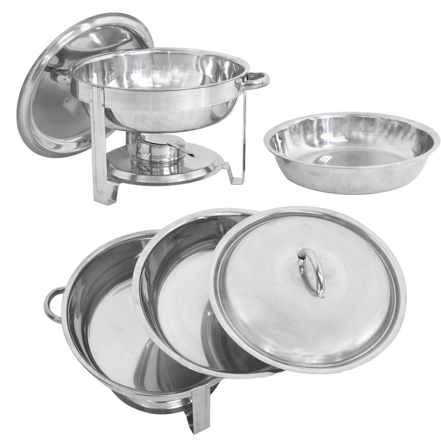 2 Deluxe Stainless Steel Chafing Dish Round Chafer with Lid 5 Quart,Dinner Serving Warmer Full Size