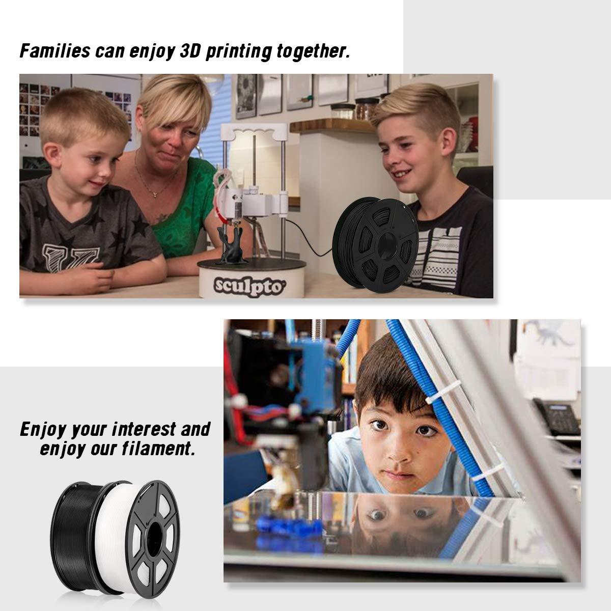 Black White 4.4LBS Tangle-Free PLA Plus Filament 2KG PLA+ 3D Printer Filament PLA+ Filament 1.75mm