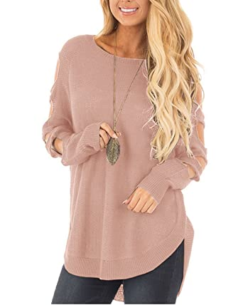 ferbia sweaters for women cold shoulder long sleeve cut out pullover