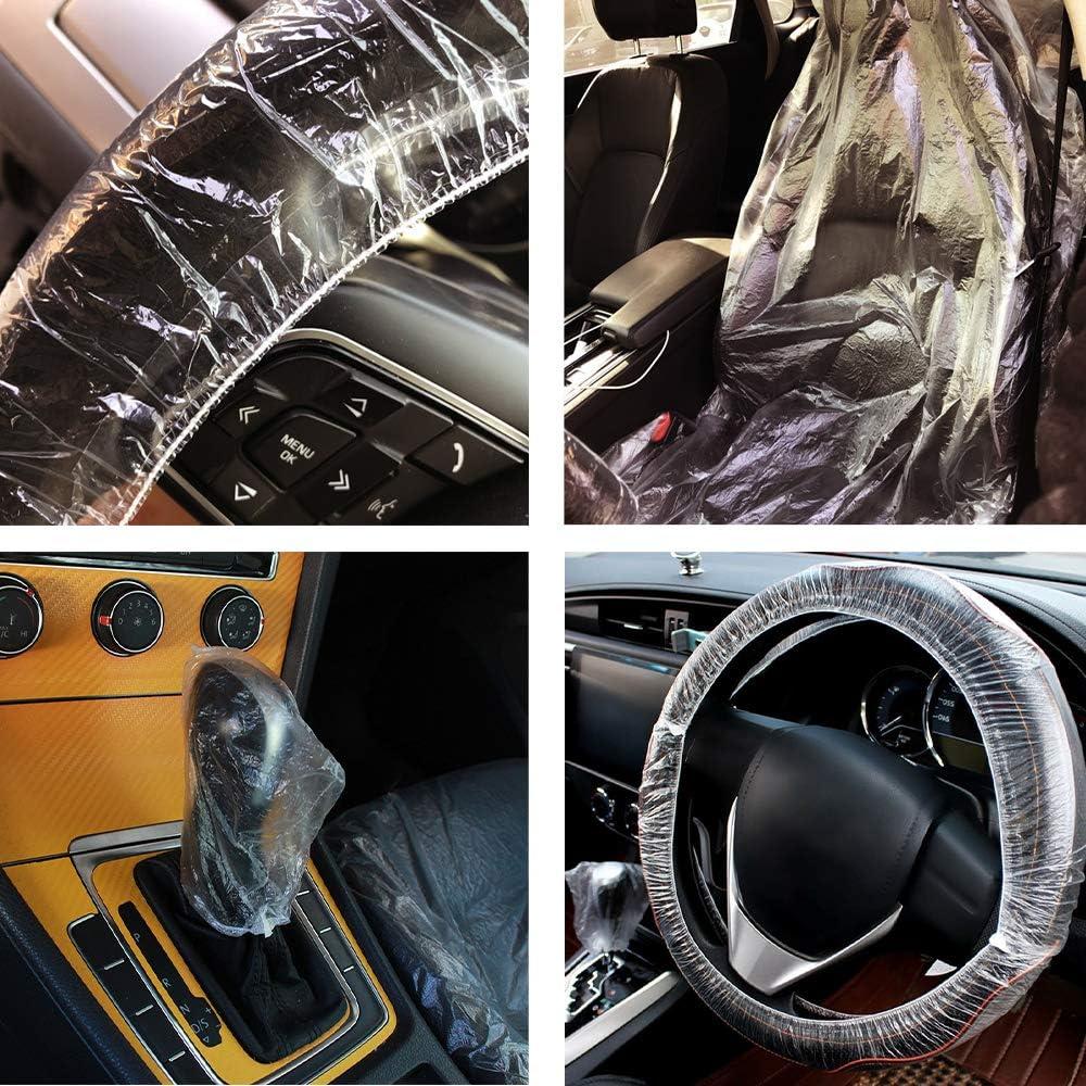 100pcs Car Gear Lever Covers Automotive Protector Anti-Dust Transparent 100 pcs Waterproof Car Disposable Plastic Seat Cover+100pcs Steering Wheel Covers Ywoow Car Disposable Seat Cover