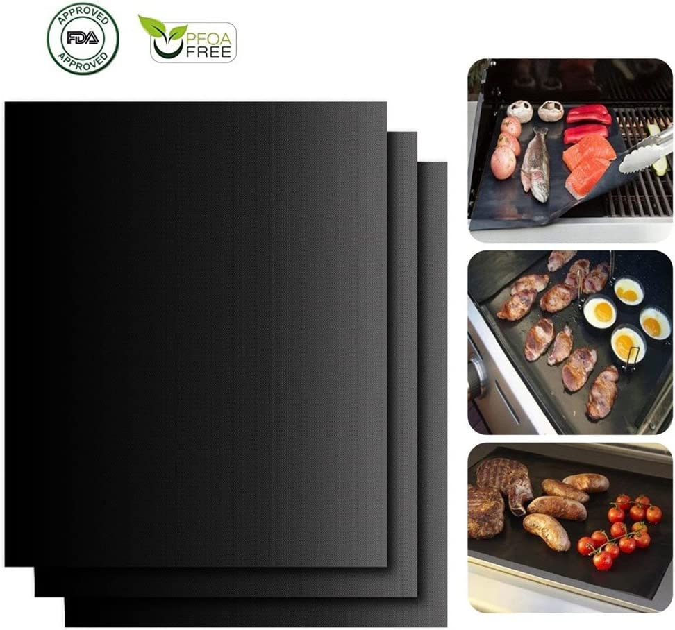 HILLPOW Non-Stick BBQ Grill Mats for Gas Grills- Set of 3 Heat Resistant Barbecue Sheets 15.7 X 13 Black