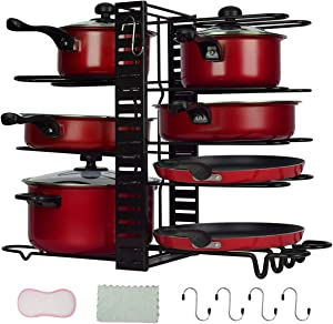 Pan Rack Organizers Pot Rack Duerer 8 Tiers Adjustable Height and Position Pots & Pans Organizer with 3 DIY Methods, Pot Holder Rack Fit for Kitchen Counter and Cabinet, Lid Organizer