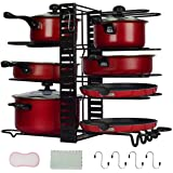 Pan Rack Organizers Pot Rack Duerer 8 Tiers Adjustable Height and Position Pots & Pans Organizer with 3 DIY Methods, Pot Hold