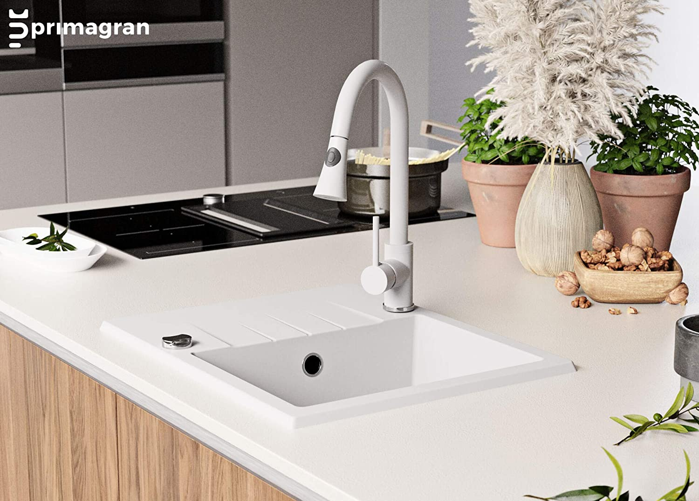 Primagran /Èvier de Cuisine en Granit Milan 1 Bac avec un Petit /Égouttoir Encastrable Inculus Siphon Automatique Gain de Place et Trop-Plein