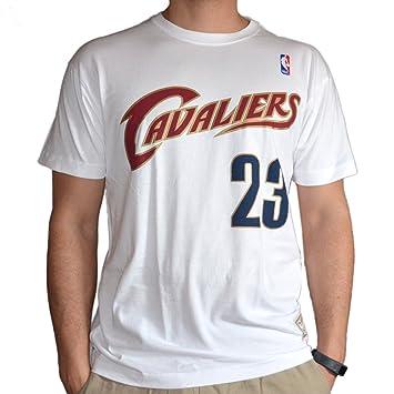 Mitchell & ~ Ness LeBron James #23 Cleveland Cavaliers nombre y número NBA Tee blanco
