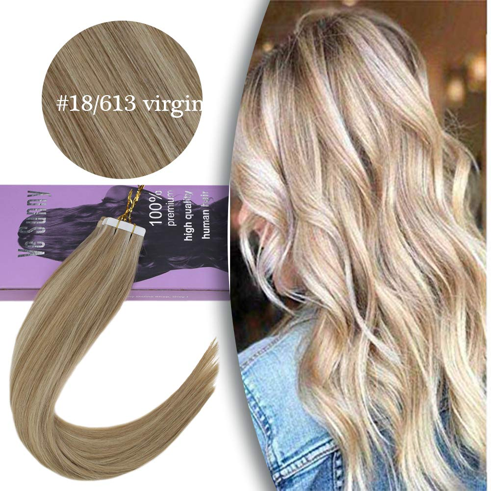 VeSunny Remy Virgin Tape in Hair Extensions Human Hair #18 Ash Blonde Highlighted #613 Bleach Blonde Virgin Tape in Extensions With Salon Quality 20pcs 40g 18inch by Ve Sunny