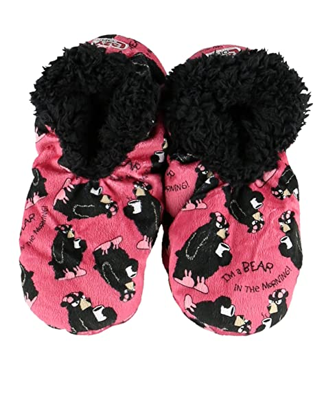 cc3cc0c08f70 Womens Plush Lined Slippers by LazyOne Comfy Animal Fuzzy Feet Bear in the  Morning Large