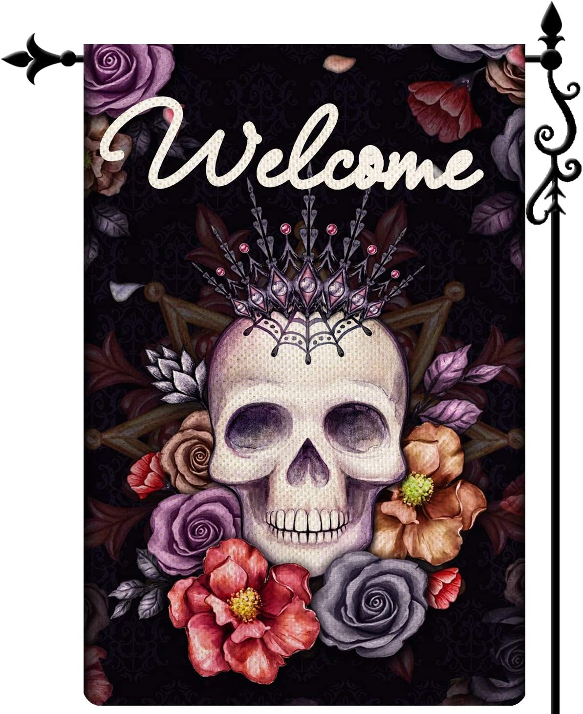 Coskaka Sugar Roes Flowers Skulls Spring Welcome Garden Flag, Double Sided Welcome Seasonal Burlap House Flags, Yard Signs Farm Home Outdoor Decor 12.5 x 18