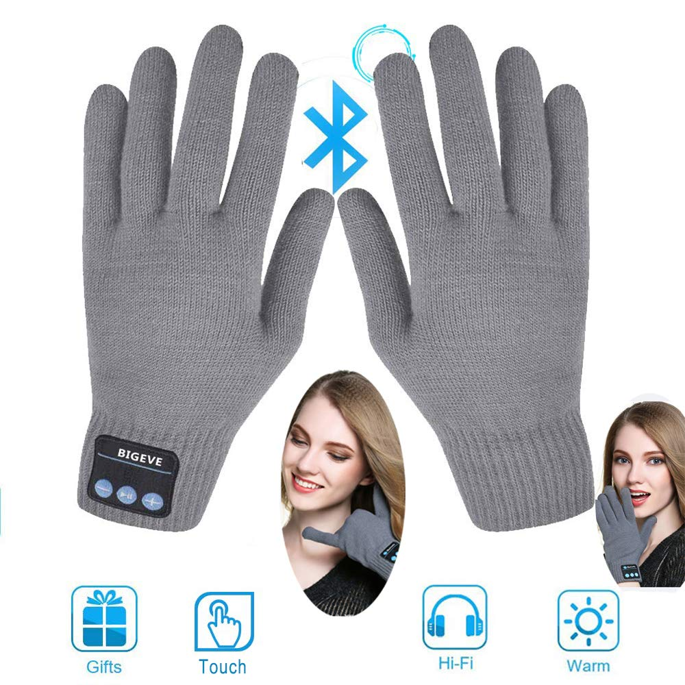 Bluetooth Gloves,Wireless Talking Gloves,Winter Gloves Touch Screen Gloves with Built-in Speakers,Removable Headphones for Music Phone Calling,Best Gift for Thanksgiving Christmas Men Women Grey