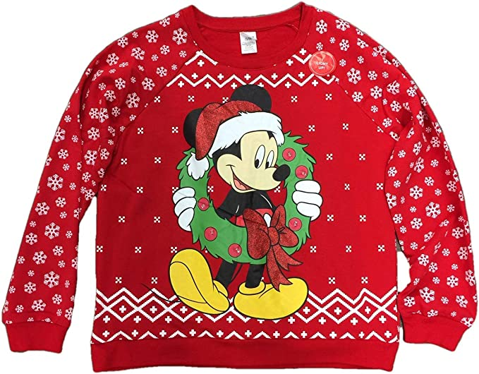 NEW Men/'s Mickey Mouse Disney Christmas Lights and Wreath Sweater Small