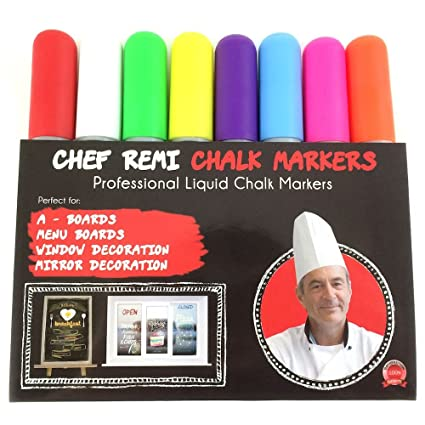 Chef Remi Liquid Chalk Marker Pens, Dry Paint Erasable Fine Tip Markers for  A-