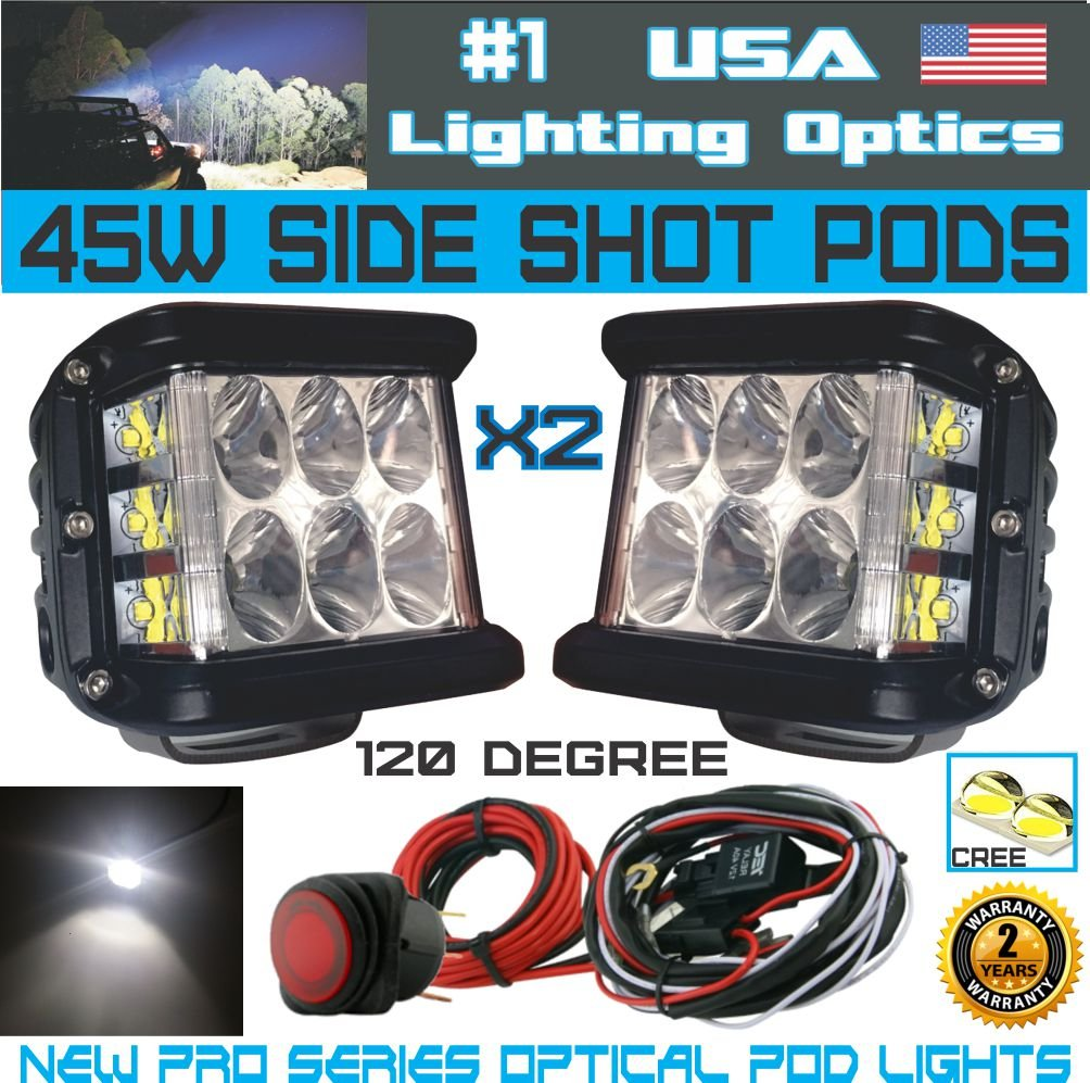 2x 45w Side Shot Pod Cubes Cree Leds Led Work Light Off Lighting Wiring Diagram Road Driving Utv Rzr Truck Jeep Free Wire Harness Automotive