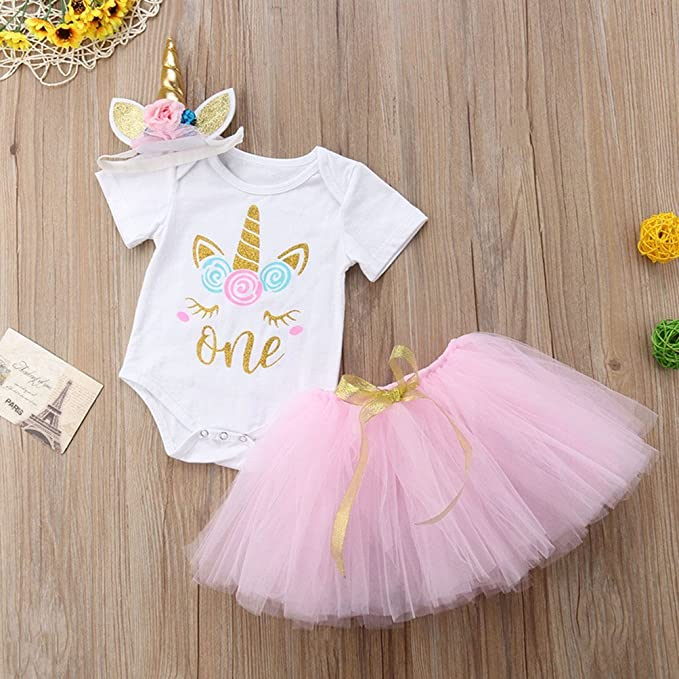 Infant Baby Girl Birthday Party Outfits Clothes Toddler Romper Tops Tutu Skirts