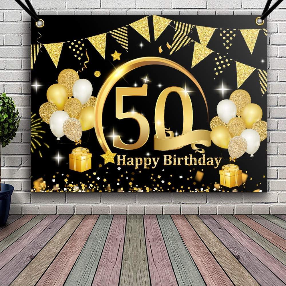 APERIL Decoración de Fiesta de 50 Cumpleaños de Oro Negro, Póster de Tela Cartel Extra Grande para 50 Aniversario Feliz Cumpleaños Pancarta de Fondo Materiales de Fiesta de 50 Años Cumpleaños